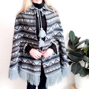 70s Vintage Fair Isle Tribal Cape Fringe Jacket